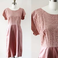 1960s pink sheath dress // 1980s lace dress // vintage dress