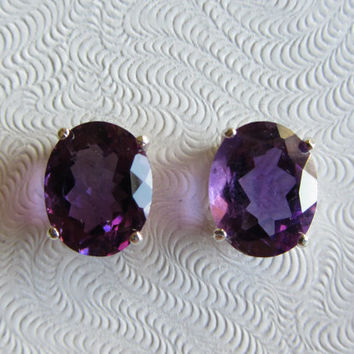 New Sterling Silver Uruguayan AAA Amethyst Post Earrings 10 x 8mm-2.24g