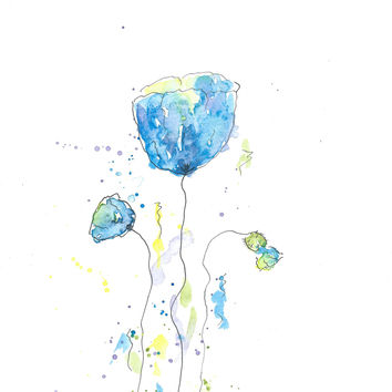 Original Watercolor Poppy Painting Blue no 3
