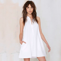 White Halter Backless Collared Dress