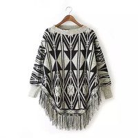 Geometric Print Tassel Cape Sweater