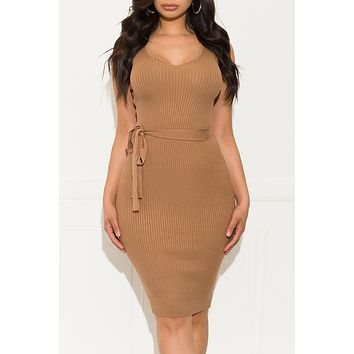 I Want It All Dress Deep Khaki