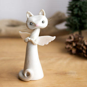Cat Angel Sculpture by Bonjour Poupette