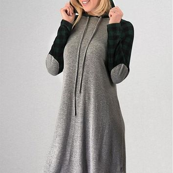 Buffalo Checked Hoodie Dress