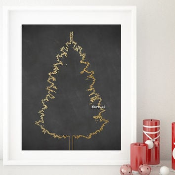 "Christmas tree print, gold foil Christmas tree silhouette printable poster, 20x16"" printable decor, minimalistic holiday decor - cta003"
