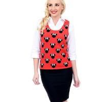 Red & Black Sleeveless Minnie Mouse Knit Tank