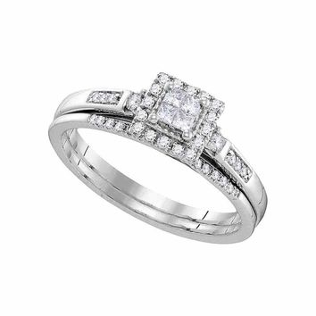 10kt White Gold Womens Princess Diamond Cluster Bridal Wedding Engagement Ring Band Set 1/4 Cttw