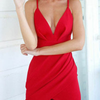 Red Deep V-Neck Strappy Bodycon Asymmetric Mini Dress
