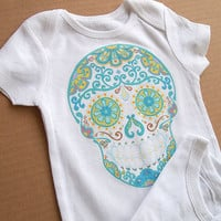 Turquoise Sugar Skull Baby One Piece Clothes. 3, 6, 12 month Trendy Day of the Dead Shirt Bodysuit Romper. Infant Girl Boy