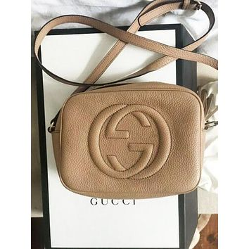 GUCCI Hot Selling Fashion Lady Big Double G tassels Bag Khaki