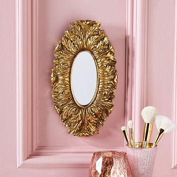 Regal Wall Hanging Mirror Antique Gold Finish 12-in (FINAL SALE)
