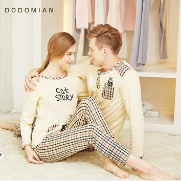Long Sleeve Spring Home Set 100% Cotton Pijamas O neck Women PJS Solid Simple Style indoor Clothing for Couple Asian size M-XXL