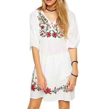 SHIPS FROM USA Cotton Mini Dress Women Floral Peasant Vintage Ethnic Boho Hippie Clothes dressy