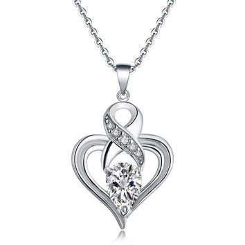 2017 Newest Necklaces & Pendants 925 Silver Fashion Anchor Infinity Heart Pendant Necklaces For Women Chain Statement Jewelry