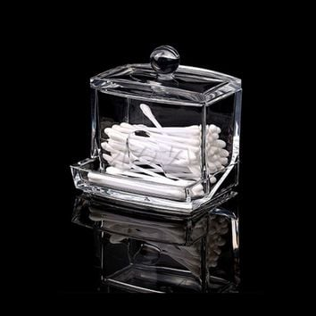 Cotton pads Clear ABS Makeup Cotton Swabs Holder Bin Storage Container Organizer Box