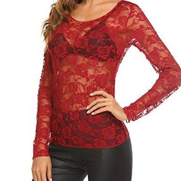 Easther Womens Mesh Tops Floral Long Sleeve Sheer Blouse See Through Shirt