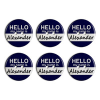 Alexander Hello My Name Is Plastic Resin Button Set of 6