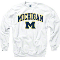 Michigan Wolverines White Perennial II Crewneck Sweatshirt