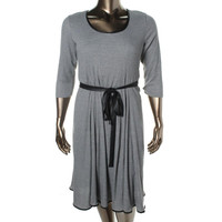 Signature By Robbie Bee Womens Ribbed Knit Faux Trim Sweaterdress