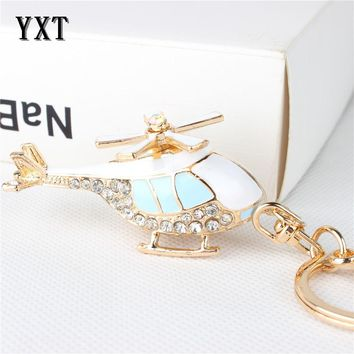 Vogue Blue Plane Helicopter Charm Pendant Lovely Crystal Purse Bag Car Keyring Key Chain Jewelry friend Gift
