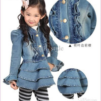 Girls Baby Denim Dress New Children Lace Denim TUTU Dress Girls Clothes Kids' Dress Fashion Set
