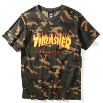 Thrasher Summer new fashion flame letter print camouflage short-sleeved T-shirt top
