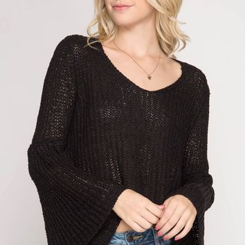 Women's Knit V-Neck Crop Top with Bell Sleeves