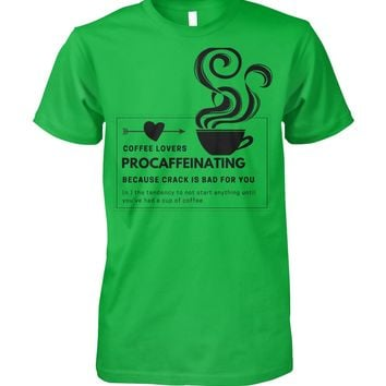 Procaffeinating Funny Graphic T-shirt Men Women, Men's Tops Women's Tops