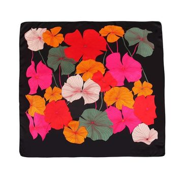 summer smooth satyna square scarves leopard lotus leaf flowers all-over rose pashmina lady bandana foulard hijabs 90*90cm
