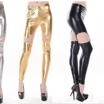 Metalic Color Suspender Leggings