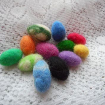 Felt Easter eggs, Handmade felted Easter decoration, 4 pieces big wool eggs, small eggs Easter, 12 pieces colorful small eggs easter spring