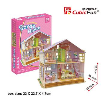 CubicFun DIY 3D Paper Puzzle Toy Girls Dream Dollhouse Cardboard Puzzle Preschool Kids Educational Papercraft Model Toy Juguetes