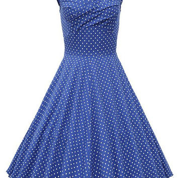 Polka Dot Printed Retro Sleeveless Dress