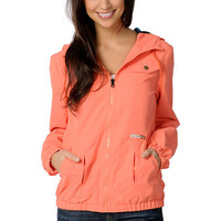 Volcom Girls Enemy Lines Coral Orange Windbreaker Jacket