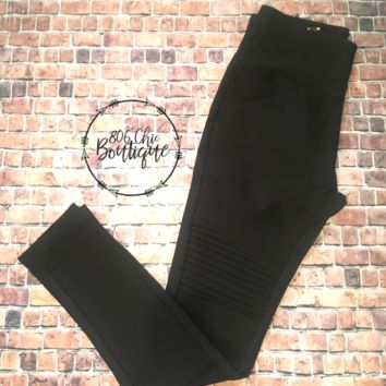 Athletic Black Moto Leggings