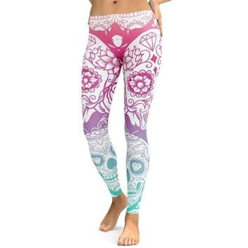 Gothic Digital Printed Sugar Skull Fitness Workout Plus Size Yoga Leggings