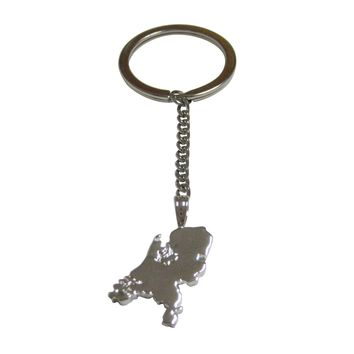 Netherlands Map Shape Pendant Keychain