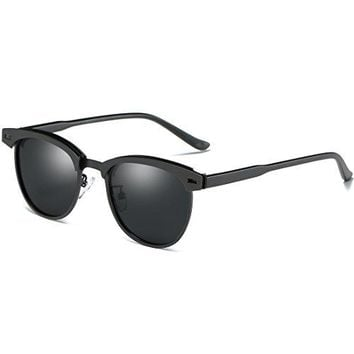 Men Retro Brand Sun Glassesoopin Semi Rimless Polarized Sunglasses Women