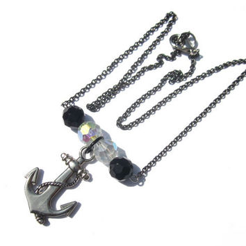 Silver Anchor Necklace Black Onyx Glass Crystal Beads Nautical Ahoy Ship Big Large Pendant Mens Womens Sailor Necklace