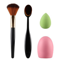 4Pcs Beauty Blush Makeup Brushes Sponge Puff Oval Brush Toothbrush Curve Cosmetic Make Up Brush Tools