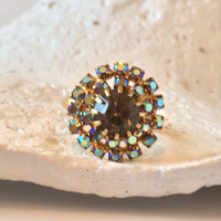 Vintage Smokey Gray Blue Aurora Borealis Custer Rhinestone Cocktail Costume Ring - Adjustable