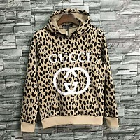 GUCCI Autumn And Winter Fashion New Letter Print Leopard Print Sports Leisure Hooded Long Sleeve Top Sweater And Pants Two Piece Suit