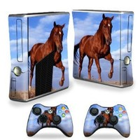 Mightyskins Protective Vinyl Skin Decal Cover for Microsoft Xbox 360 S Slim + 2 Controller skins wrap sticker skins Horse