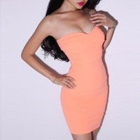 Bqueen Sexy Solid Color Dress Orange LN034C - Designer Shoes|Bqueenshoes.com