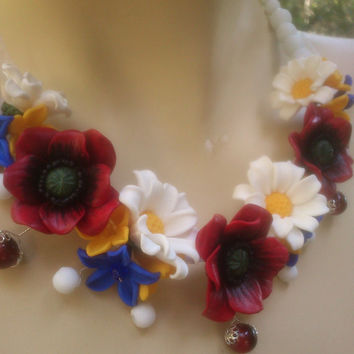 Floral necklace - Floral earrimgs- Handmade jewelry - Colorful jewelry