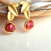 Earrings:Gold plated brass earring hooks with fuchsia  crystal, gold plated leaf studs earring faceted  crystal teardrop, christmas, wedding