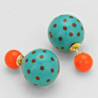 Polka Dot Double Sided Earrings Turquoise Coral