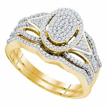 10kt Yellow Gold Women's Round Diamond Oval Cluster Bridal Wedding Engagement Ring Band Set 3/8 Cttw - FREE Shipping (US/CAN)