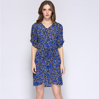 Star Print V-Neck 3/4 Sleeved Belted Tie Dress