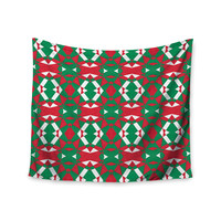 "Empire Ruhl ""Christmas Geo"" Red Green Wall Tapestry"
